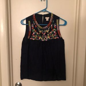 Embroidered Navy tank JCrew